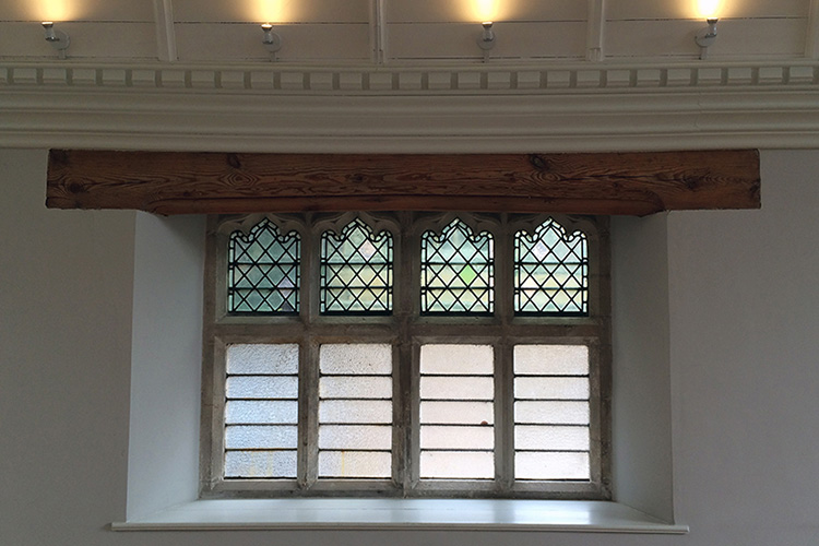 Historic window detail in listed church hall refurbishment by Space Program Architects