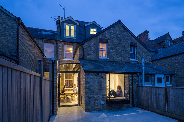 View from garden to modern Victorian terrace side return by Space Program Architects